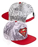 Fashion Youth Boy's Superman Flat Bill Hat with Sublimated Crown, Adjustable Snapback (One Size Fits Most) Red/Grey