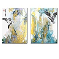 キャンバスプリントポスターレトロなスタイルのブルカー海のビーチと鳥の風景リビングルームの装飾的な壁の写真スカンジナビア35x50cm-2個フレームレス