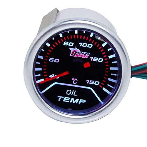 Supmico 52mm Weiß LED Licht Kfz Auto Öltemperatur Anzeige Öl Oil Anzeige Instrument Gauge Meter Rauchfarbe Len Messgerät