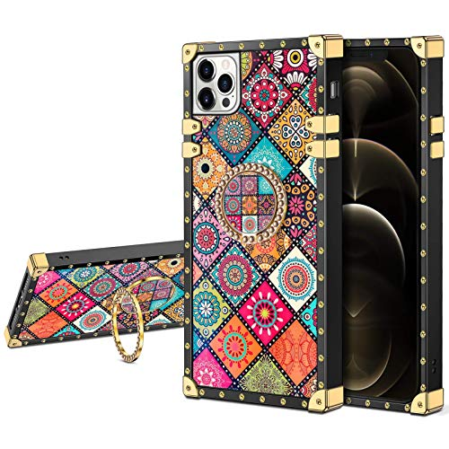 JAKPAK Compatible with iPhone 12 Pro Max Case with Ring Holder Kickstand for Girls Women Luxury TPU Case Shockproof Protective Cover Compatible with iPhone 12 Pro Max 6.7 inch Retro Flower