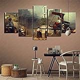 5 piezas cuadro en lienzo Cuadro compuesto por 5 lienzos impresos en HD, utilizados para decoración del hogar y carteles Juego Dishonored 2 (150x80cm sin marco)