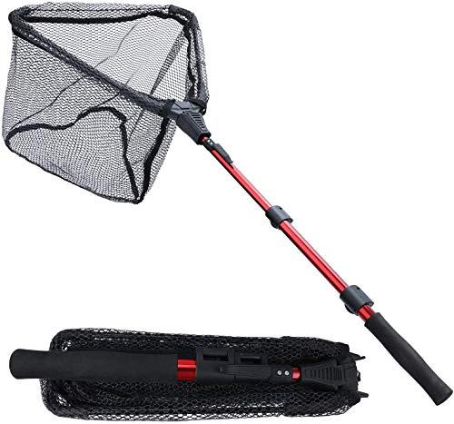 Sougayilang Red de pesca para pesca con caña telescópica, plegable y plegable, malla de material de nailon duradero, captura de peces o liberación-RSJ115CM