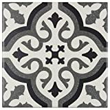 MTO0234 Modern 6X6 Deco Patterned Black Gray Off White Matte Porcelain Tile