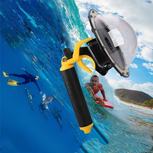Dome Hafen für GoPro Hero 8 Schwarz, Diving Transparent GoPro Dome Objektiv Wasserdichtes Gehäuse mit schwimmendem Handgriff Unterwassergehäuse für GoPro Zubehör