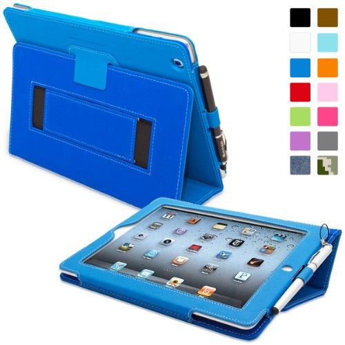 Snugg iPad 2 Hülle (Blau) - Smart Cover mit Automatische Schlaf-Spur, Aufsteller, elastischer Handschlaufe, Stylus-Halterung und Premium Nubuck Innenfutter für Apple iPad 2