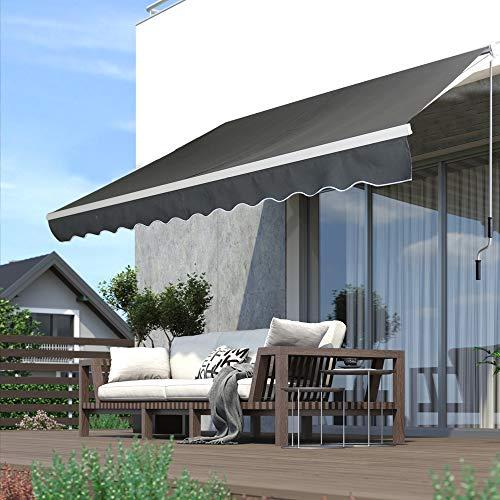 Froadp 300x250cm Gelenkarmmarkise Aluminium Markise Sonnenschutz Abdeckung Klemmarkise wasserdichte Anti-UV Sonnensegel Sichtschutz für Balkon Terrasse(Dunkelgrau)