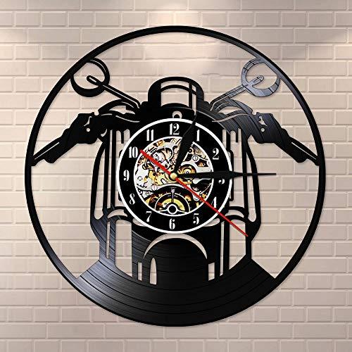 BFMBCHDJ Motorrad Vinyl Schallplatte Wanduhr Personaised Club Name Wanduhr Motorrad Uhr Wandkunst Dekor Vintage LP Uhr Keine LED 12 Zoll