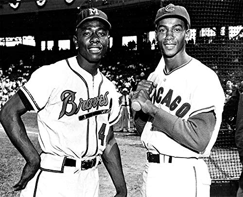 Atlanta Braves Hank Aaron and Chicago Cubs Ernie Banks in 1961 8x10 Photo Picture