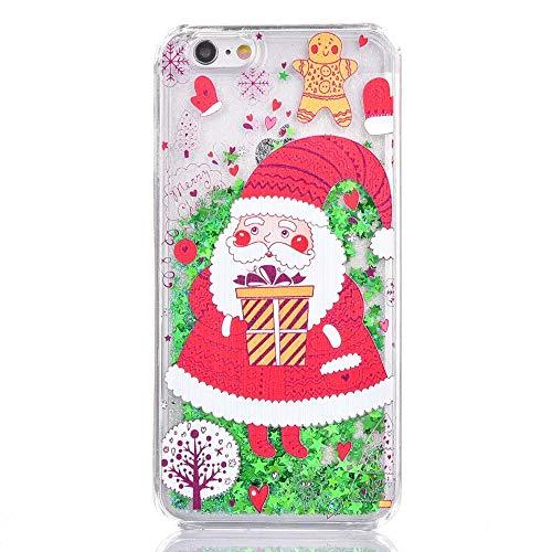 SpiritSun Funda iPhone 5 / 5S Carcasa con Líquido y Transparente, Silicona Dura Case Bumper TPU Tapa Trasero para iPhone 5 / 5S / SE Anti Rasguños Protector Caso - Papá Noel 1