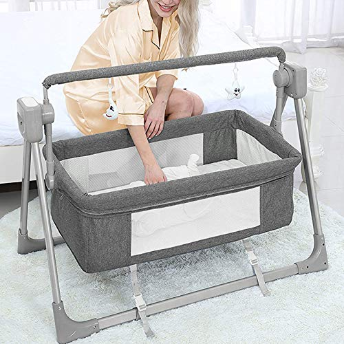 Electric Cradles Baby Bassinet,Baby Bassinet with Remote Control, Folding Portable Bedside Sleeper,3 Timer 5 Swing Modes Arm Reach Crib for Newborn and Infant