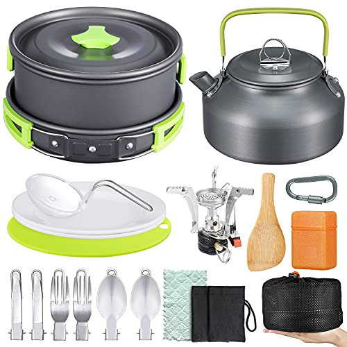 Sportneer 18Pcs Camping Cookware Set Hiking Cooking with Mini Stove Anti-Stick/Slip Pot Pan Kettle Plates Stainless Steel Knife Fork Cutting Board Carabiner for Outdoor Backpacking Fishing Picnic
