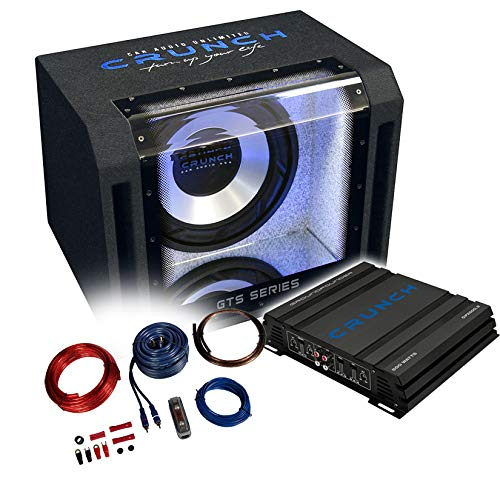 Crunch Basspaket 2-Kanal Endstufe/Verstärker+30cm Subwoofer+Kabel-Set - 800 Watt/GTS-400 + GPX-500.2 + REN10KIT