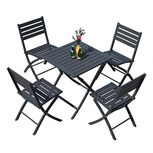 BIANGEY Conjunto de Muebles de jardín Plegable, Bistro Conjunto de 5 Piezas, Todas Las Aluminio, 4 sillas y 1 Mesa, para jardín, terraza, Villa, Junto a la Piscina, decoración del Patio