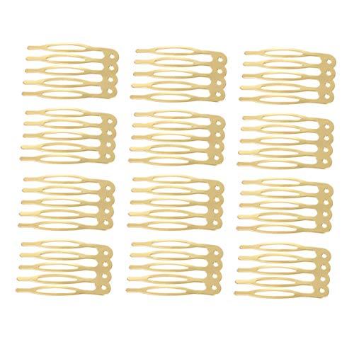 Lurrose 50 stuks haarkammen metalen huwelijk sluierhaar kammen pins clips voor handwerk doe-het-zelf haarboog sieraden maken (goud) Größe 1 goud