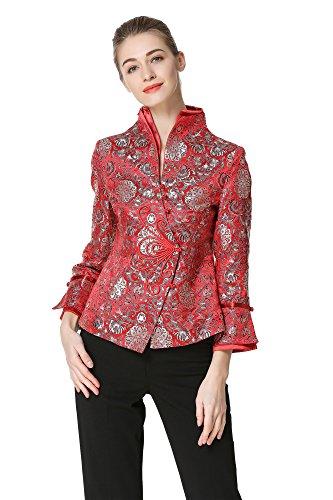 Bitablue Women's Lotus Chinese Brocade Jacket in Red (Large)