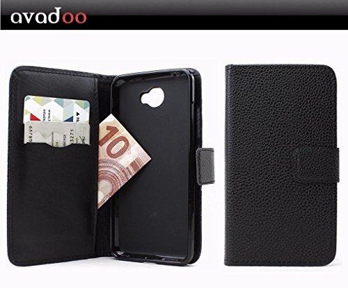 avadoo® Archos 50 Cobalt Flip Hülle Cover Tasche Schwarz mit Magnetverschluss & Dualnaht als Cover Tasche Hülle