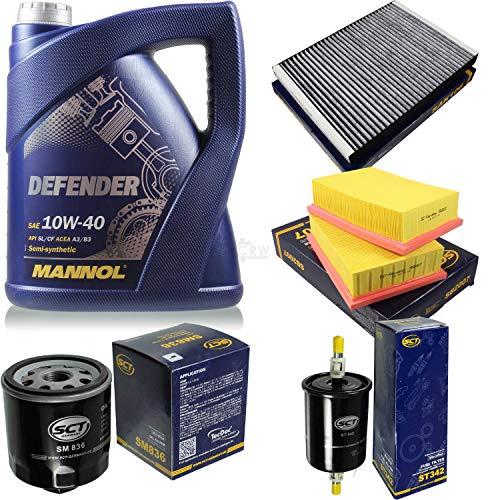 Filter Set Inspektionspaket 5 Liter MANNOL Motoröl Defender 10W-40 API SL/CF SCT Germany Innenraumfilter Luftfilter Ölfilter Kraftstofffilter