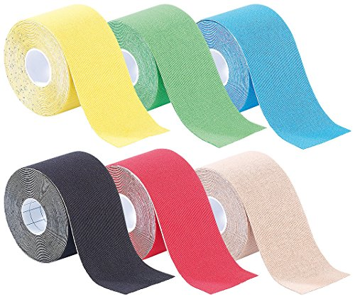newgen medicals Tapeband: Kinesiologie-Tapes, Baumwollgewebe, 5 cm x 5 m 6er-Set (Kinesiology Tape)