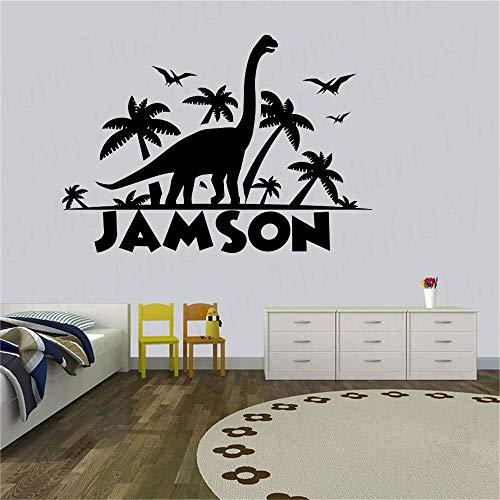 Dinosaurus muur sticker gepersonaliseerde aangepaste jongen naam slaapkamer baby kamer kleuterschool huisdecoratie cartoon kunst vinyl raam sticker 85.5x60cm