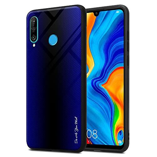 Cadorabo Hülle kompatibel mit Huawei P30 LITE - Streifen Optik in Cobalt LILA - Handyhülle aus TPU Silikon und Tempered Glas - Silikonhülle Schutzhülle Ultra Slim Back Cover Case Bumper