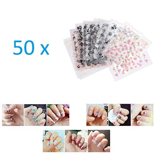 Kare & Kind 50 feuilles d'autocollants auto-adhésifs avec un design 3D, Astuce, Art de tatouage d'ongles, décalcomanies pour d'ongles, Décoration bricolage d'ongles - Motifs de fleurs