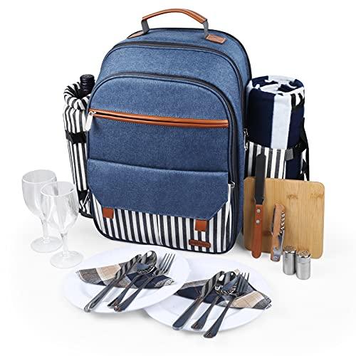 Sunflora Isolierter Picknick-Rucksack für 2 Personen Tasche mit Kühlfach, Weinbeutel, Decke und Edelstahl-Besteck-Set für Paare, Verliebte und Freunde (Blau & Streifen)