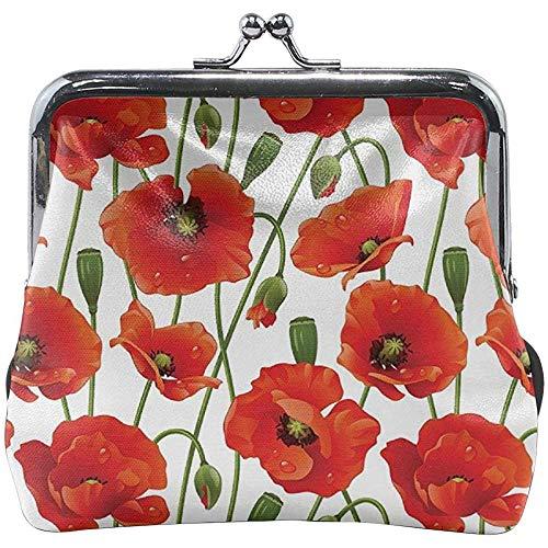 Patrón Floral de Flores de Amapola Hebilla clásica Monederos Monederos Monederos de Cuero Ki_SS-Lock