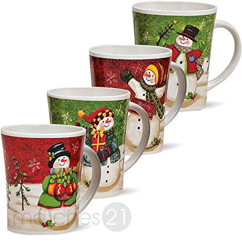 matches21 Weihnachtstassen Tassen Becher Schneemann 4-tlg. Set je 11cm / 450ml Keramik Glühweintassen Kaffeebecher Weihnachtsmotive Weihnachtsdekor