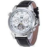 Forsining orologio da uomo automatico Tourbillon completo di calendario con cinturino JAG057M3S2