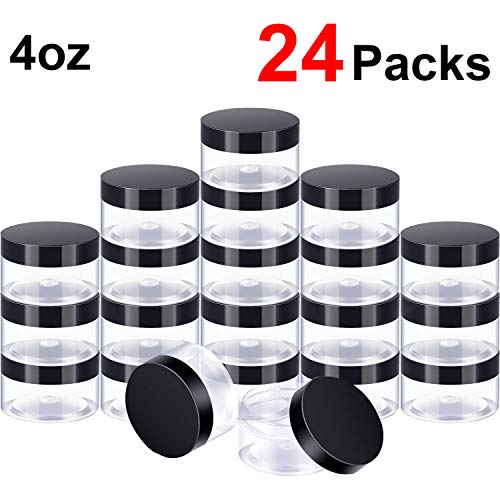 24 Pieces Clear Plastic Round Storage Jars Wide-Mouth Plastic Containers Jars with Lids for Storage Liquid and Solid Products (Black Lid, 4 oz)