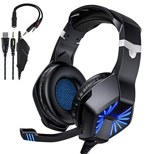 TedGem Headset, Headphones, 3.5mm Kopfhörer, Surround Sound Gaming Headset PC mit Mikrofon, LED Headset PS4, Gaming Headset Xbox One, Kopfhörer mit Kabel für PC Laptop Mac Tablet