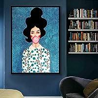 北欧アートキャンバスプリントポスター、フィギュアキャラクター水彩カラフルなモダンな家族の寝室の装飾ポスター、キャンバスアートポスターとリビングルームの壁アート画像フレームなし-F_60X80Cm