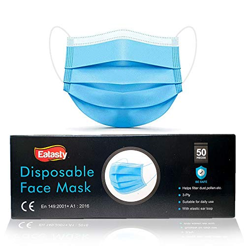 50 PCS 3 Ply Ear Loop Disposable_Face_Masks Industrial Non-Woven Fabric Windproof Foggy Haze and Dust Proof Full Face Protection - UK Seller