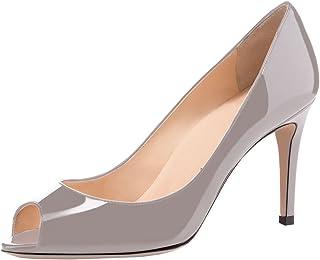 Sammitop Women's Peep Toe Pumps 80mm High Heel Shoes Slip...