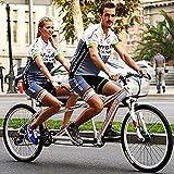 WANYE Bicicleta Clásica, Tándem, Beach Cruiser para Adultos, Dos Plazas, Marco De Acero con Escalón Bajo, 21 Velocidades, Ruedas De 26 Pulgadas White-21 Speed