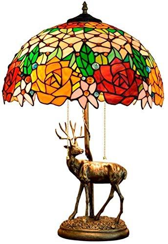 DIMPLEYA American Elk Lámpara De Mesa Rose Tiffany Style Vitral Bar Luz Sala * Estar Dormitorio Noche Mesita De Comedor 40 59cm