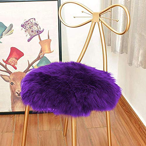 Eanpet Faux Sheepskin Chair Pad Round Cover Seat Cushion Pad Soft Fluffy Area Rug for Area Rugs for Chair Seat Pad Couch Pad Area Natural Rugs Purple 1.5x1.5FT