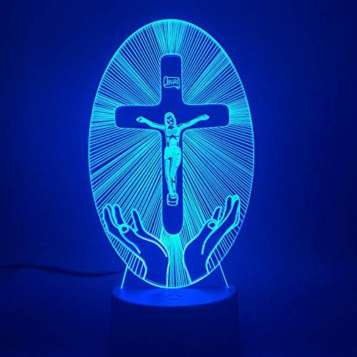 jiushixw 3D acryl nachtlampjes met afstandsbediening van kleur veranderende lampen Christian Jezus Christus religieuze kruising Bijbel Christentum sieraden druppels snoerloze tafellamp batterij geloof