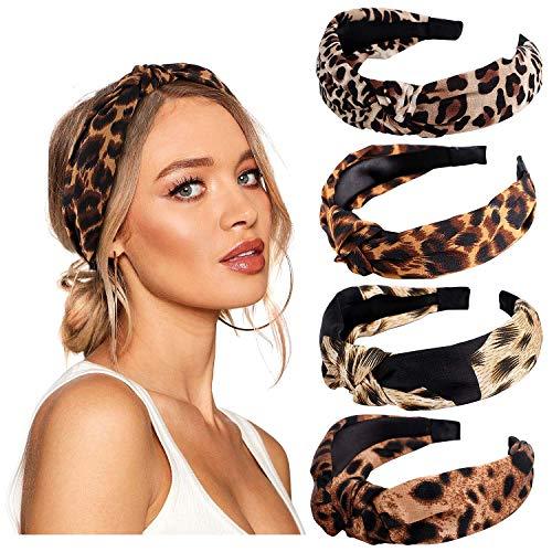 Vamei Dames-haarband, breed, vintage, voor dames luipaard