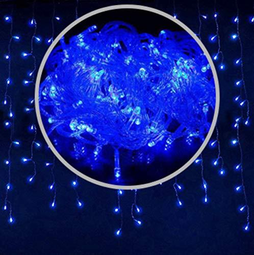 Luces De Cortina Led Luces De Tiras De Hielo, Luces Decorativas Impermeables De La Calle Al Aire Libre 5 X 0,8 Metros Luces De Cuerda Enchufables Luces De Vacaciones 5*0.8m Azul