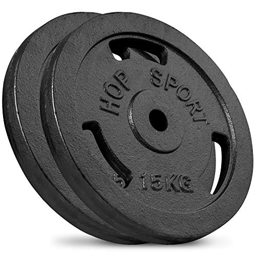 Hop-Sport Hantelscheiben 5kg 10kg 20kg 30kg 40kg Guss Gewichte Hantel Set Gewichtsscheiben 30mm (2 x 15 kg)
