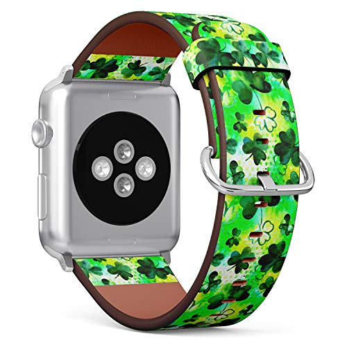 (Watercolor Shamrock Clover Pattern) Patterned Leather Wristband Strap Compatible with Apple Watch Series 4/3/2/1 gen,Replacement of iWatch 38mm / 40mm Bands