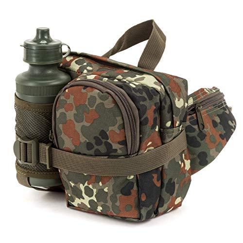 Commando Industries Bauchtasche mit Trinkflasche Gürteltasche Schwarz BW Flecktarn Outdoor Pack (Bundeswehr–Flecktarn)