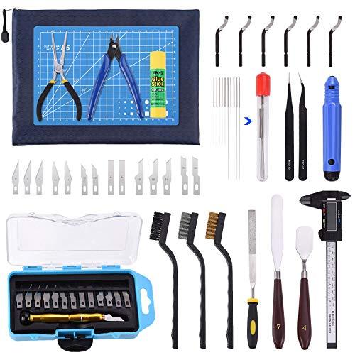 Suteck Kit de herramientas para impresora 3D, 45 piezas, incluye cuchillo de tallar, pinzas de...