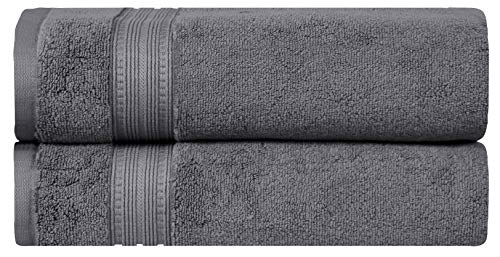 Divine Overseas Luxury Zero Twist 100% algodón hilado en anillos, extragrande, absorbente, suave juego de toallas de baño de 2 piezas, gris