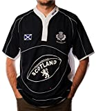 I Luv Ltd Scotland Rugby Shirt Short Sleeve Navy White Cool Collar Saltire Badge Small