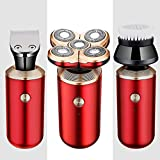 Afeitadora eléctrica 5 en 1 para Hombres, maquinilla de Afeitar, Recortadora de Barba, afeitadora Flotante 3D, máquina de Afeitar para la Cabeza Calva, Juego de Aseo para Hombres