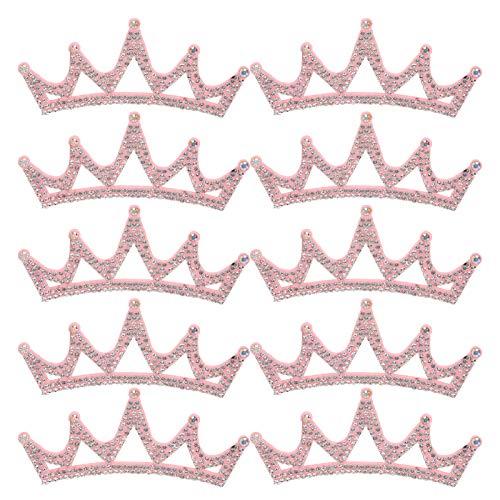 Parches para ropa, 10 piezas de diamantes de imitación, apliques de tela, parches en forma de corona, accesorios para ropa(Corona triangular rosa de 10 * 3,7 cm)
