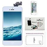 Trop Saint Pantalla para iPhone 5 Blanco - Kit de reparación LCD Completo - con Guía 5 lenguas, Superficie de Trabajo magnética, Herramientas y Film Protector Pantalla