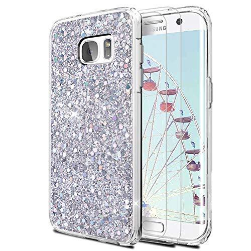 Feyten Funda Galaxy S7 Edge con 2-Unidades Cristal Vidrio Templado, Purpurina TPU...